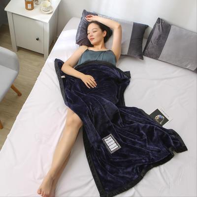 2019新款私人定制立体雕花双层法兰绒午睡毯水晶绒 100*150 藏蓝