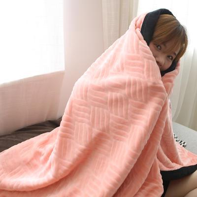 2019新款私人定制立体雕花双层法兰绒午睡毯水晶绒 100*150 少女粉