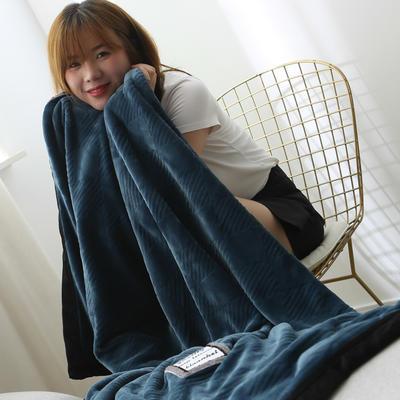 2019新款私人定制立体雕花双层法兰绒午睡毯水晶绒 100*150 烟雾蓝