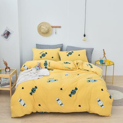 2019新款速干莱卡针织棉四件套 1.5m床单款 糖果-黄