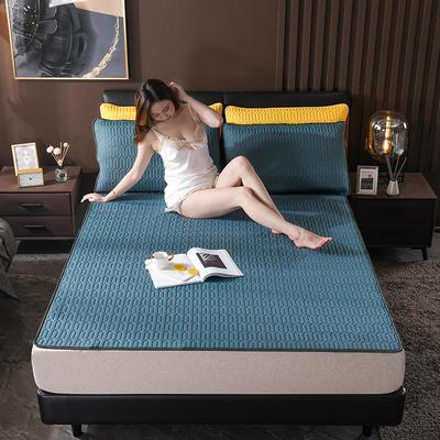 2020新款凉感丝纯色乳胶凉席三件套可水洗空调软席 90x200 冰蓝