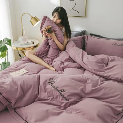 2020亲肤网红水洗棉洛卡棉刺绣蝴蝶结款四件套 1.5m(5英尺)床 豆沙