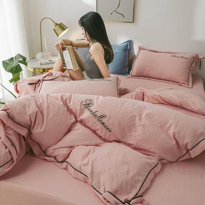 2020亲肤网红水洗棉洛卡棉刺绣蝴蝶结款四件套 1.5m(5英尺)床 魅力粉