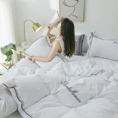 2020亲肤网红水洗棉洛卡棉刺绣蝴蝶结款四件套 1.5m(5英尺)床 甜蜜白