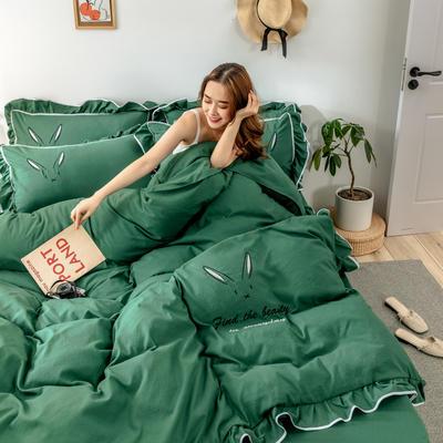 2020新款兔耳朵水洗棉韩版荷叶边刺绣四件套 1.2m床单款三件套 葱绿