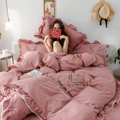 2020新款兔耳朵水洗棉韩版荷叶边刺绣四件套 1.2m床单款三件套 裸粉