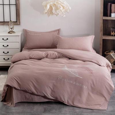 2020新款全棉生态磨毛纯色刺绣四件套飘羽系列 1.5m床床单款四件套 咖色
