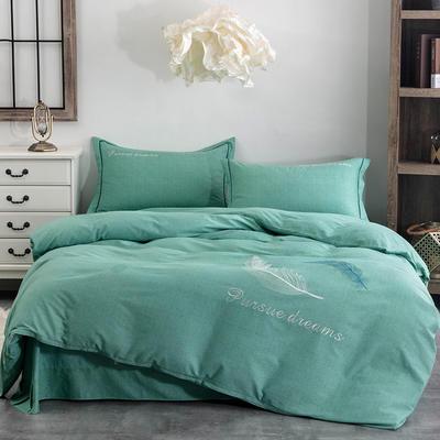 2020新款全棉生态磨毛纯色刺绣四件套飘羽系列 1.5m床床单款四件套 水蓝色