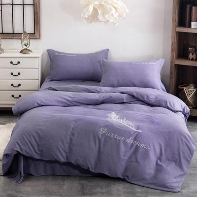 2020新款全棉生态磨毛纯色刺绣四件套飘羽系列 1.5m床床单款四件套 紫色