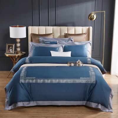 2020新款60支长绒棉刺绣四件套 1.5m床床单款四件套 西西里-宝石蓝