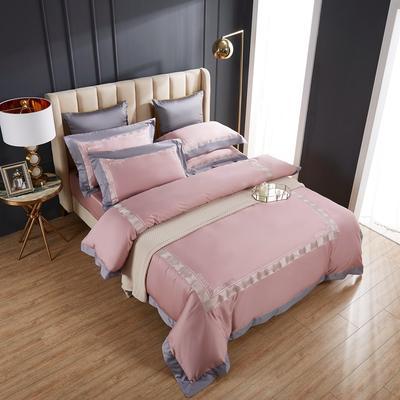 2020新款60支长绒棉刺绣四件套 1.5m床床单款四件套 西西里-琥珀玉