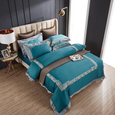 2020新款60支长绒棉刺绣四件套 1.5m床床单款四件套 西西里-孔雀蓝