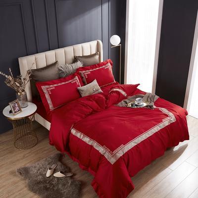 2020新款60支长绒棉刺绣四件套 1.5m床床单款四件套 西西里-迷情红