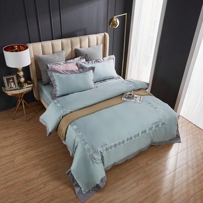 2020新款60支长绒棉刺绣四件套 1.5m床床单款四件套 西西里-浅水绿