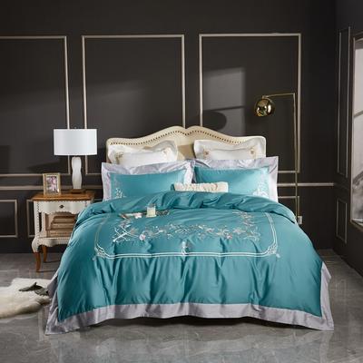 2020新款120支长绒棉刺绣四件套倾城之恋 1.5m床床单款四件套 倾城之恋-孔雀蓝