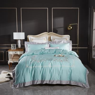 2020新款120支长绒棉刺绣四件套倾城之恋 1.5m床床单款四件套 倾城之恋-抹茶绿