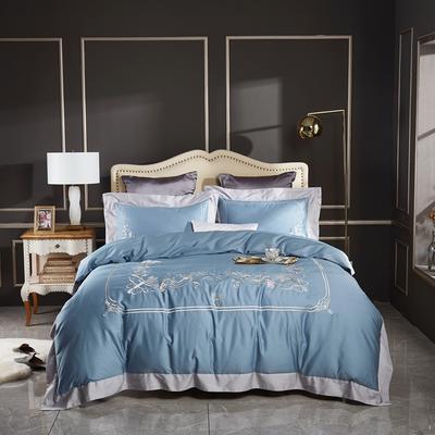 2020新款120支长绒棉刺绣四件套倾城之恋 1.5m床床单款四件套 倾城之恋-清新兰