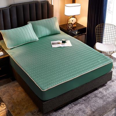 2020新款凉感丝乳胶凉席床笠三件套 150*200+30cm 纯色抹茶绿