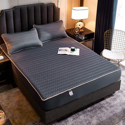 2020新款凉感丝乳胶凉席床笠三件套 150*200+30cm 纯色绅士灰