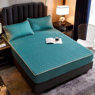 2020新款凉感丝乳胶凉席床笠三件套 90*200+30cm 纯色深草绿