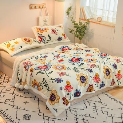 2020新款多功能双层牛奶绒羊羔绒午睡毯毛毯单被套 100*120cm单被套 向日葵-米白