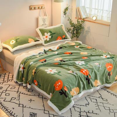 2020新款多功能双层牛奶绒羊羔绒午睡毯毛毯单被套 100*120cm单被套 向阳花语