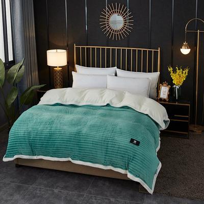 2020新款双层毛毯高克重牛奶绒贝贝绒空调毯午睡毯多功能盖毯单被套 150x200cm单被套 蜜柚时光-湖蓝