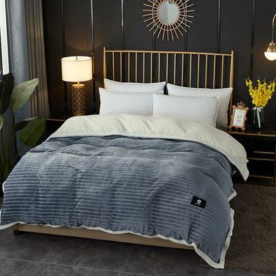 2020新款双层毛毯高克重牛奶绒贝贝绒空调毯午睡毯多功能盖毯单被套 150x200cm单被套 蜜柚时光-浅灰