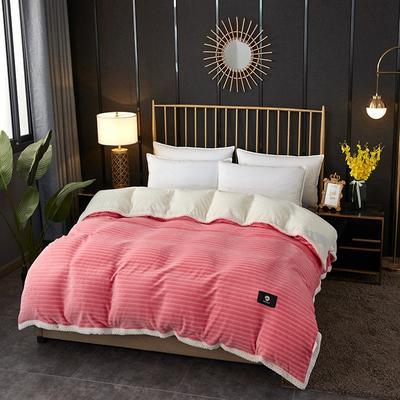 2020新款双层毛毯高克重牛奶绒贝贝绒空调毯午睡毯多功能盖毯单被套 150x200cm单被套 蜜柚时光-玉色