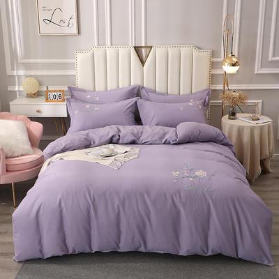 2020新款全棉生态磨毛绣花四件套 1.5m床单款四件套 花之恋 -紫色