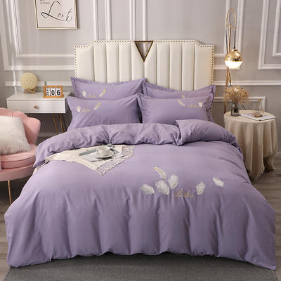 2020新款全棉生态磨毛绣花四件套 1.5m床单款四件套 轻舞飞扬 -紫色
