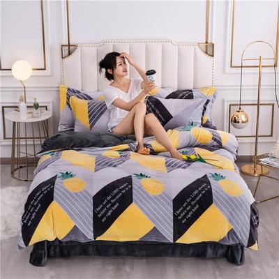 2020新款牛奶绒保暖绒印花四件套 1.5m床单款四件套 菠萝迷宫
