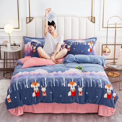 2020新款牛奶绒保暖绒印花四件套 1.5m床单款四件套 童话