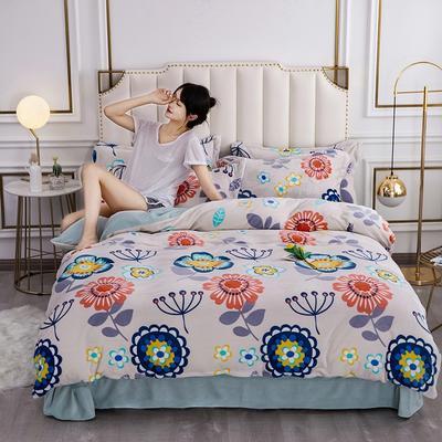 2020新款牛奶绒保暖绒印花四件套 1.5m床单款四件套 向阳花开