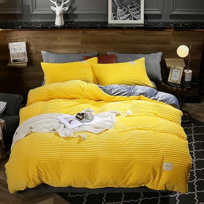 2019年新款魔法绒四件套 1.2m床单款三件套 靓丽黄