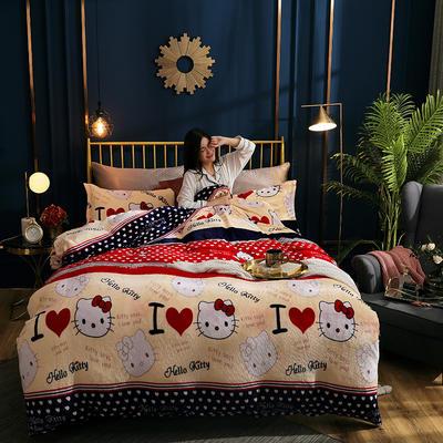 2019新款法莱绒四件套 1.2m床单款三件套 可爱猫