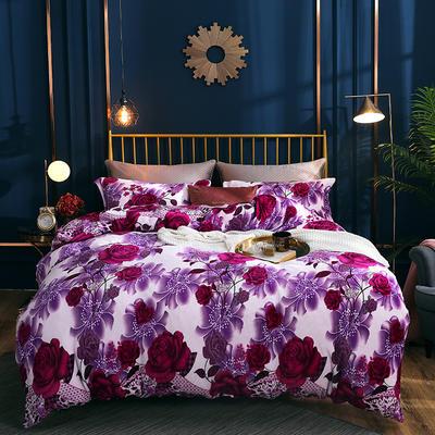 2019新款法莱绒四件套 1.2m床单款三件套 紫牡丹