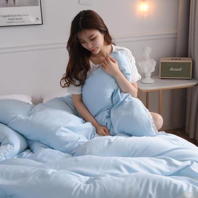 2019新款水洗天丝春秋被冬被-思念如一系列 200*230cm(7斤) 天蓝色