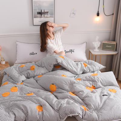 2019新款-全棉印花秋冬被被子被芯 200X230cm4.8斤 格纹橙子
