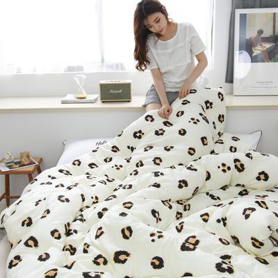 2019新款-全棉印花秋冬被被子被芯 200X230cm7.6斤 黄豹纹