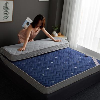 2019新款针织记忆海绵床垫-6公分 10公分 150*200cm 立体波纹-蓝(10公分)
