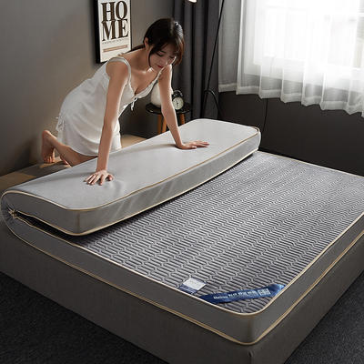 2019新款水晶绒乳胶床垫高弹记忆海绵抗压耐压床垫-10cm 90*200-10cm 水晶绒立体-灰色