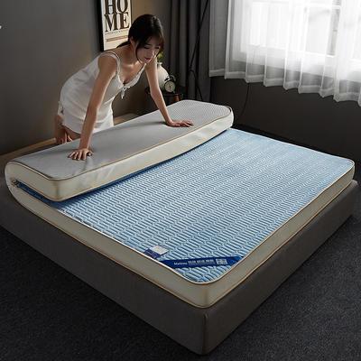 2019新款水晶绒乳胶床垫高弹记忆海绵抗压耐压床垫-10cm 90*200-10cm 水晶绒立体-天蓝