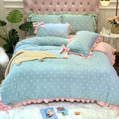 2019新款牛奶絨工藝款四件套寶寶絨床單款保暖水晶絨法蘭絨 1.5m(5英尺)床單款 歐拉綠色