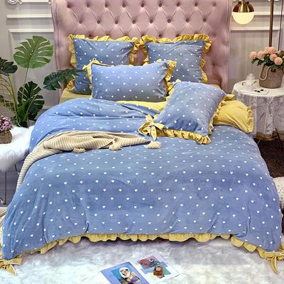 2019新款牛奶絨工藝款四件套寶寶絨床單款保暖水晶絨法蘭絨 1.5m(5英尺)床單款 歐拉煙霧藍