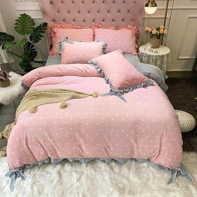 2019新款牛奶絨工藝款四件套寶寶絨床單款保暖水晶絨法蘭絨 1.5m(5英尺)床單款 歐拉粉色
