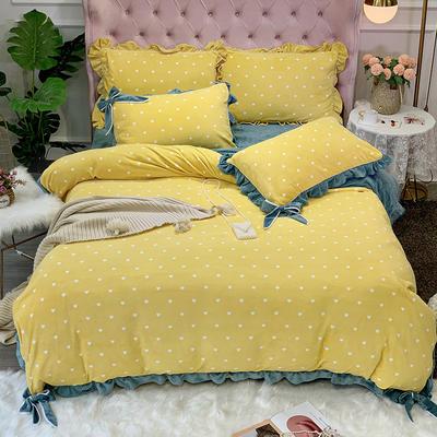 2019新款牛奶絨工藝款四件套寶寶絨床單款保暖水晶絨法蘭絨 1.5m(5英尺)床單款 歐拉黃色