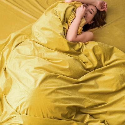 2019新款意大利真絲絨寶寶絨四件套水晶絨法蘭絨 1.5m(5英尺)床單款 檸檬黃