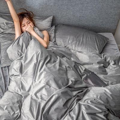 2019新款意大利真絲絨寶寶絨四件套水晶絨法蘭絨 1.5m(5英尺)床單款 品味灰