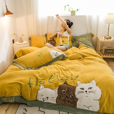 2019新款澳大利亞綿羊絨hello貓系列四件套 1.5m(5英尺)床 hello貓-姜黃色